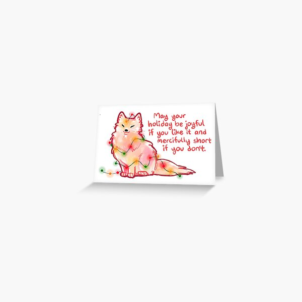 """May Your Holiday"" Christmas Arctic Fox Greeting Card"