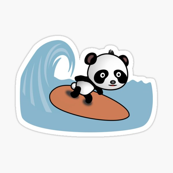 Panda Surfer reitet die Welle - Comic Style Motiv Sticker