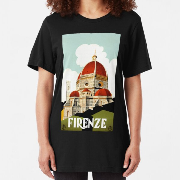 Vintage Florence Firenze Italy Travel poster Slim Fit T-Shirt