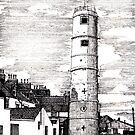 163 - BATH TERRACE LIGHTHOUSE, BLYTH (INK 1988) by BLYTHART