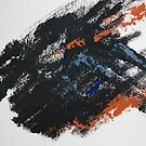 Rita-T, Abstract Painting, Black-BlueGray-Orange by VoxOrpheus