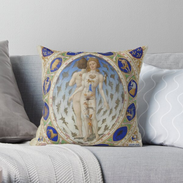 Look at the signs of the zodiac. They correspond to each part of the body, starting with Pisces Throw Pillow