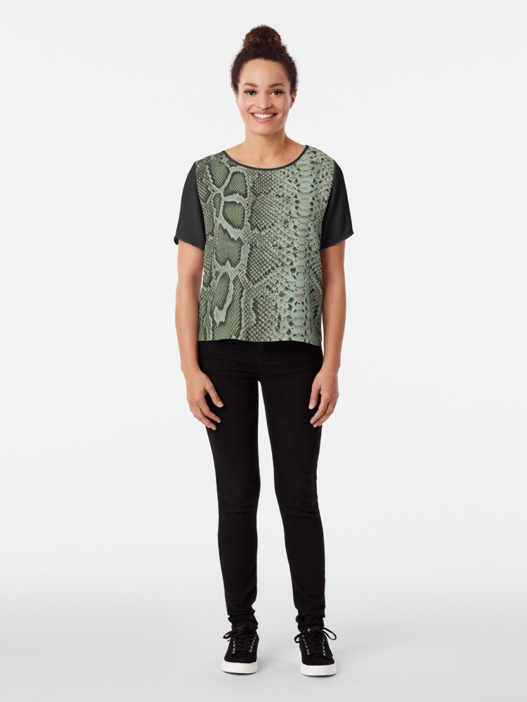 Alternate view of Exotic Snake Print Chiffon Top