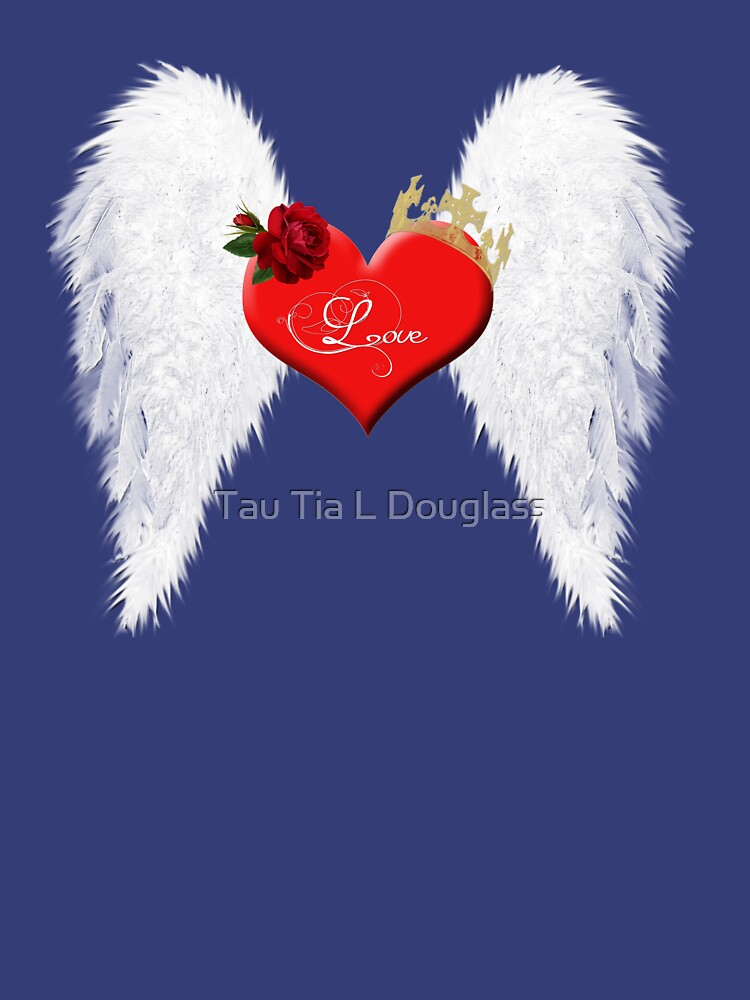Love heart with wings, red rose and crown. by PurplePeacock