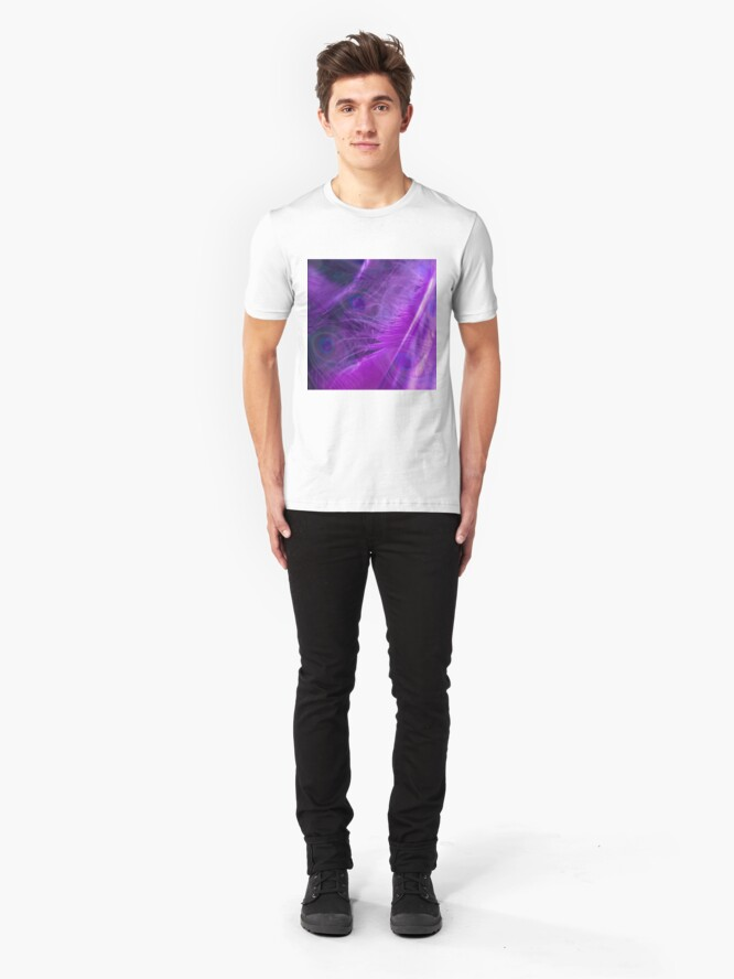 Alternate view of Purple Peacock Feathers Pattern  Slim Fit T-Shirt