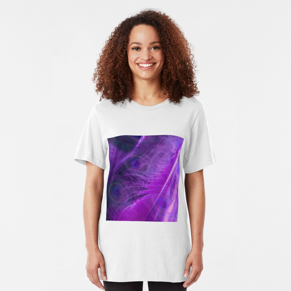Purple Peacock Feathers Pattern  Slim Fit T-Shirt