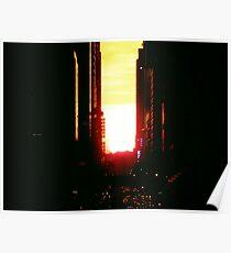 Manhattanhenge Sunset in New York City Looking Down 42nd Street Poster