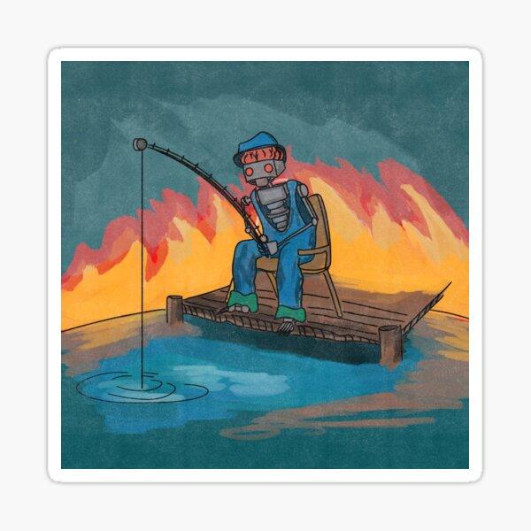Kayak Fishing Decal Fisherman Fishing Pole Canoe Bass Trout Catfish Boat Sticker