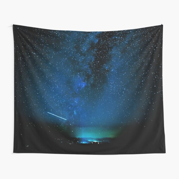 Stars and Space Night Sky - Blue Starry Milky Way in Arizona Tapestry
