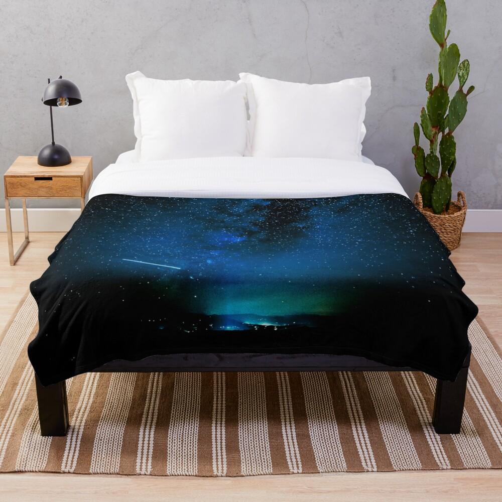 Stars and Space Night Sky - Blue Starry Milky Way in Arizona Throw Blanket