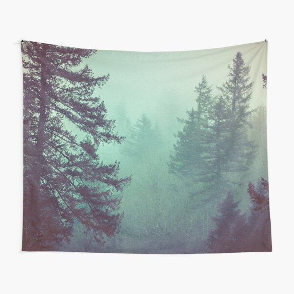 Forest Fog - Green Trees Vintage Pacific Northwest Wall Tapestry Hazy Misty Travel Foggy Trees Forest Forests Mountain Mountains Tapestry