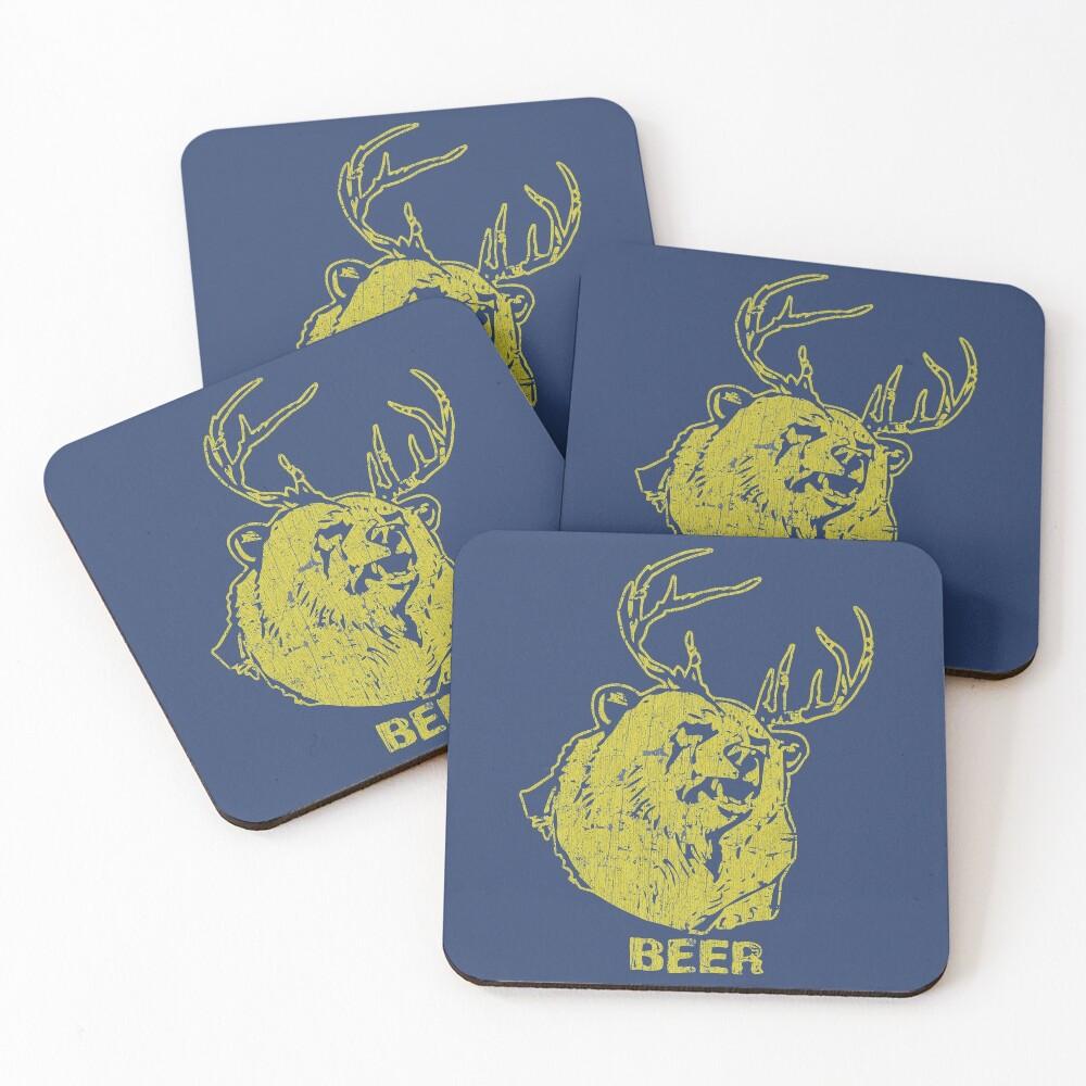 Bear + Deer = Beer Coasters (Set of 4)