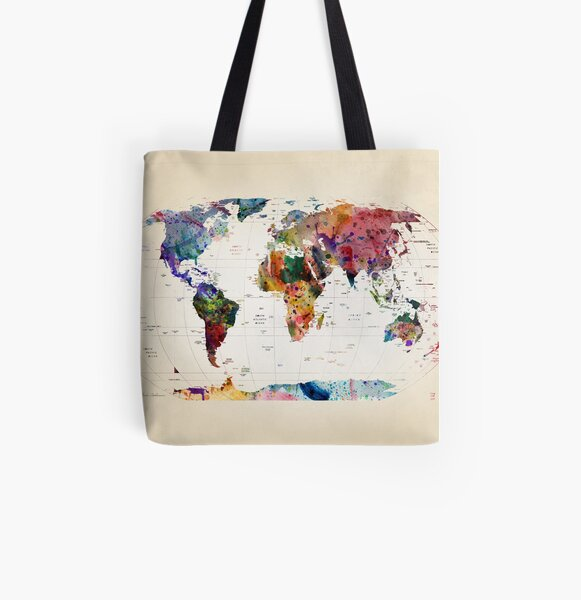 map All Over Print Tote Bag