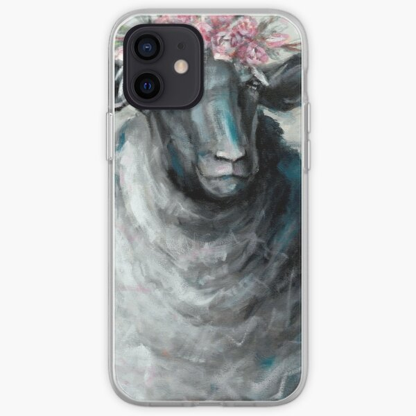 Sheep Portrait with Flowers iPhone Soft Case