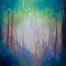 Memory of Spring semi abstract bluebell springtime woodland landscape painting by Gill Bustamante