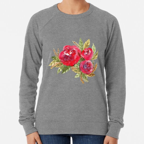Red Flowers Lightweight Sweatshirt