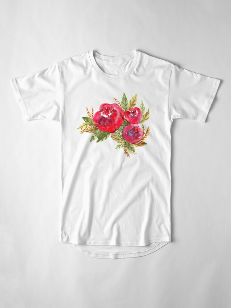 Alternate view of Red Flowers Long T-Shirt
