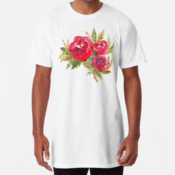 Red Flowers Long T-Shirt