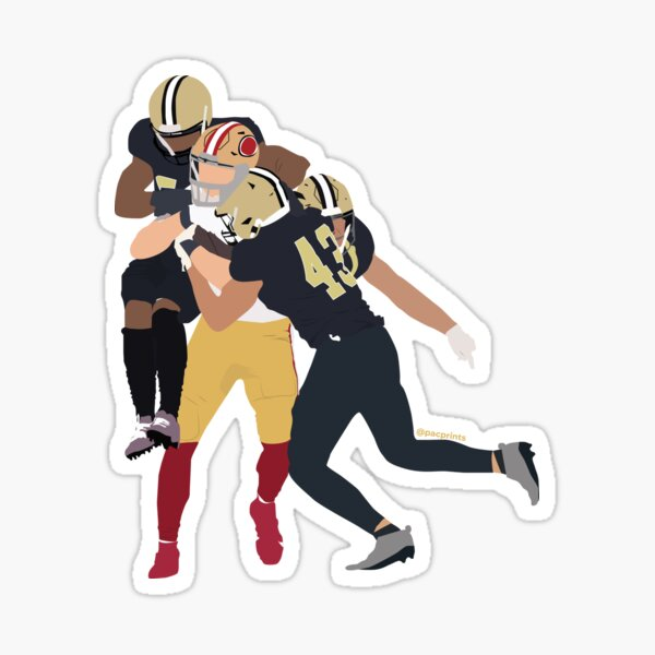 George Kittle v Saints Game Winning Play Minimalist Art // Phone case, t shirt, stickers and more  Sticker