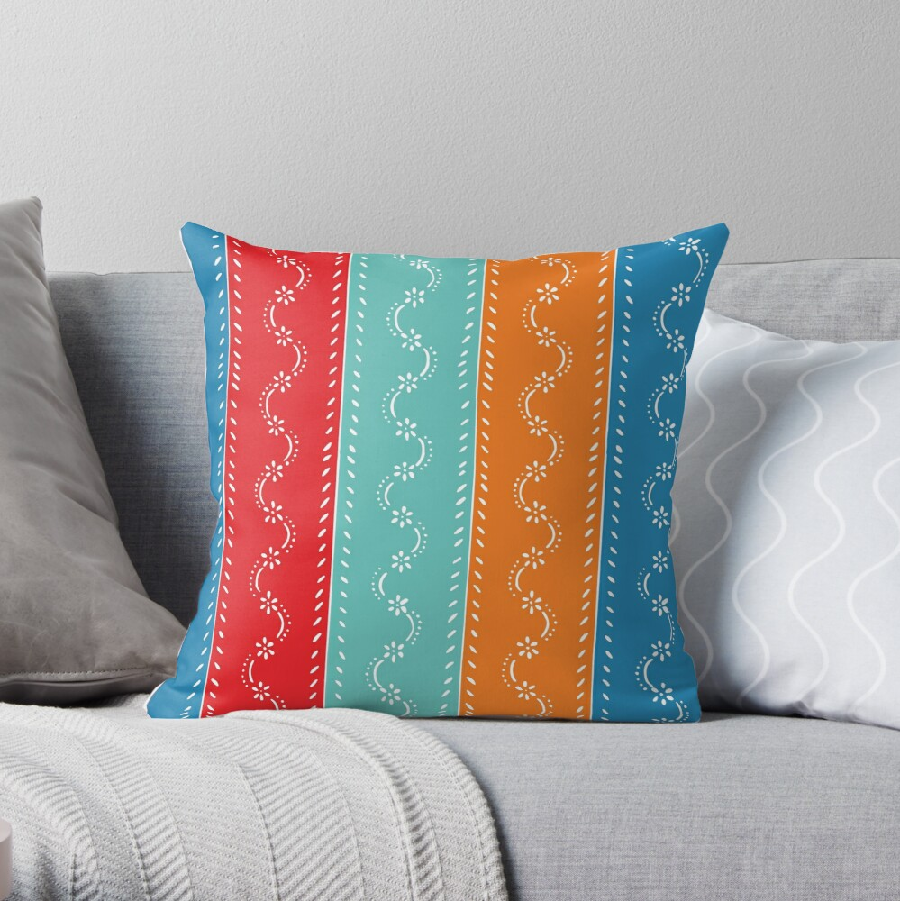 Scatter flowers in strong summer colors, tri-color, vintage Throw Pillow