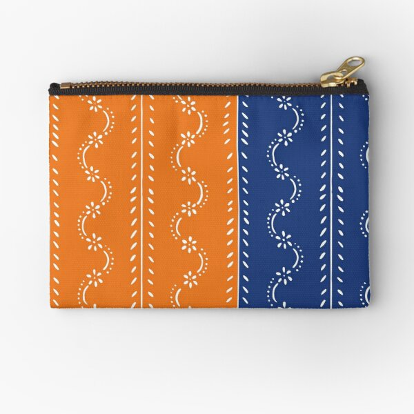 Scattered flowers blue-orange in strong summer colors, vintage Zipper Pouch