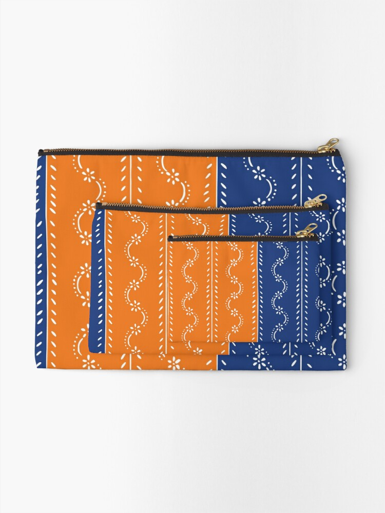 Alternate view of Scattered flowers blue-orange in strong summer colors, vintage Zipper Pouch
