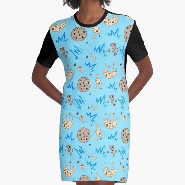 Cookie Monster kawaii pattern texture  Graphic T-Shirt Dress