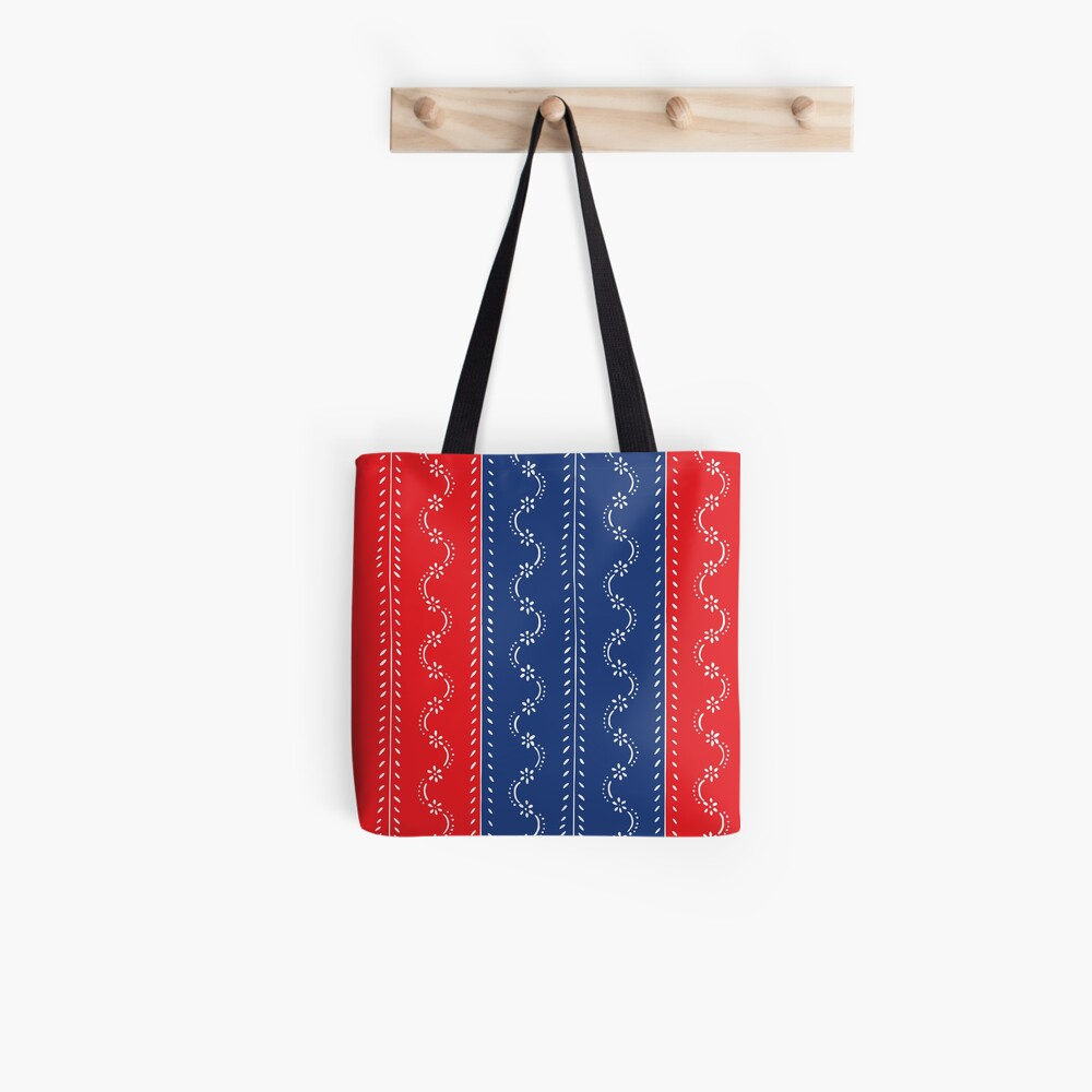 Scattered flowers blue-red in strong summer colors, vintage Tote Bag
