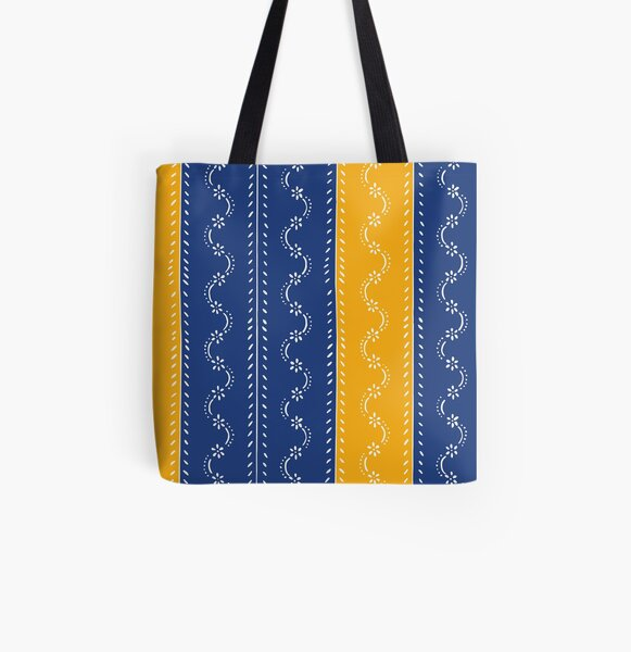 Scattered flowers blue-yellow in strong summer colors, vintage All Over Print Tote Bag
