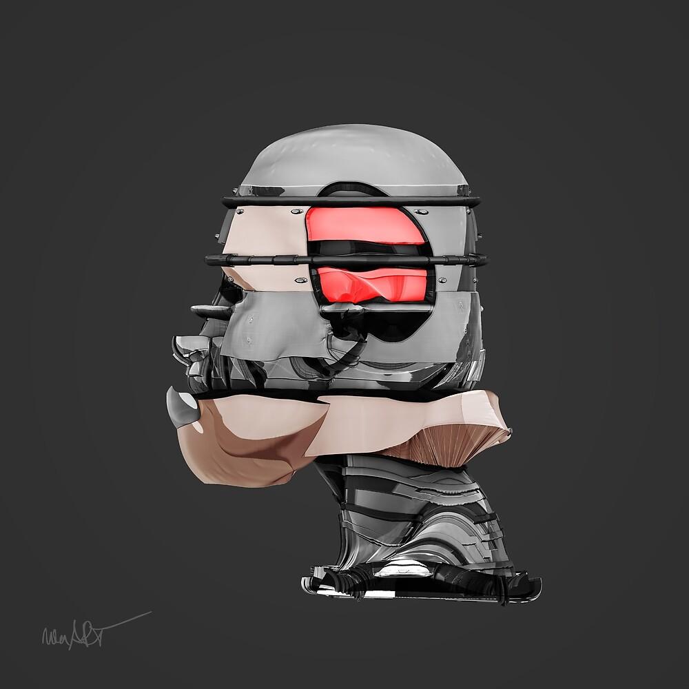 DISPLACEMIND I 12 2016 Grey - Print (Cyberpunk Displacement 3D-Render Digital Art) von nenART-Official