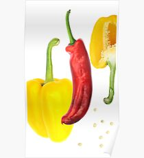 Yellow Pepper Red Pepper Poster