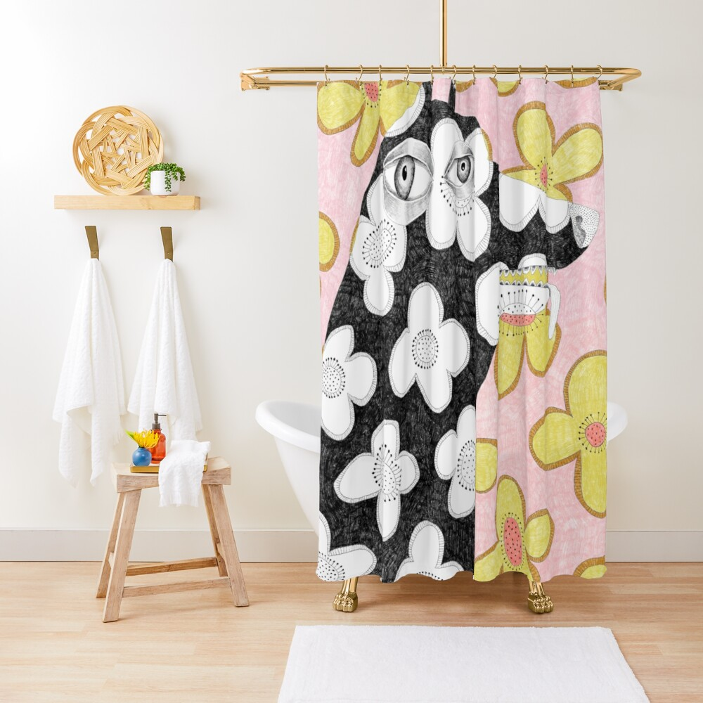 Wallpaper dog Shower Curtain