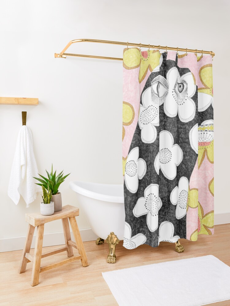 Alternate view of Wallpaper dog Shower Curtain