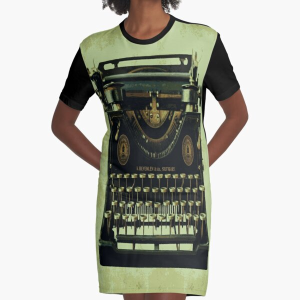 VINTAGE TYPEWRITER Pop Art Graphic T-Shirt Dress