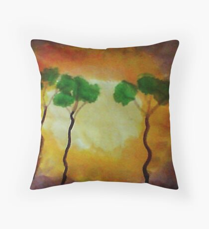 More funny trees, watercolor Throw Pillow