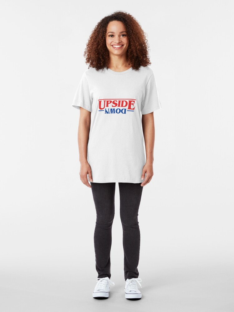 Alternate view of Upside Down Stranger Things Logo Style Slim Fit T-Shirt