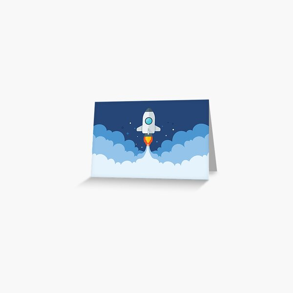 Rocket in clouds Greeting Card