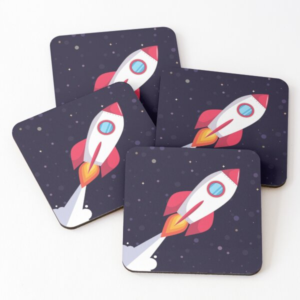 Rocket in dark blue outer space Coasters (Set of 4)