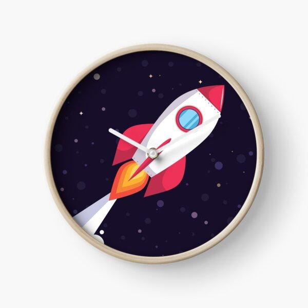 Rocket in dark blue outer space Clock