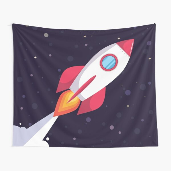 Rocket in dark blue outer space Tapestry