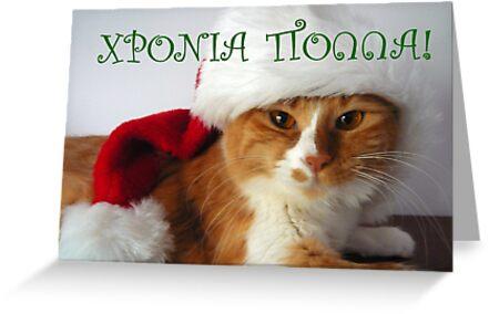 Greek greeting christmas cat wearing santa hat greeting cards by greek greeting christmas cat wearing santa hat greeting cards by momocards redbubble m4hsunfo