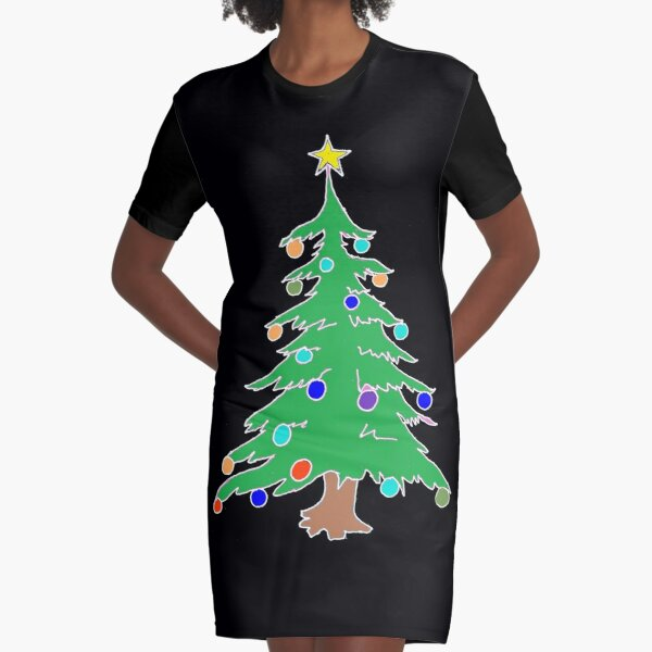 Christmas Tree Graphic T-Shirt Dress