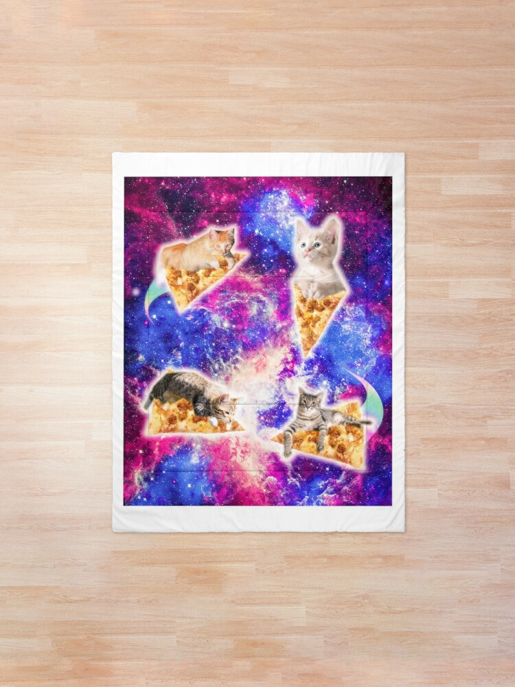 Alternate view of Galaxy Space Pizza Cat Comforter