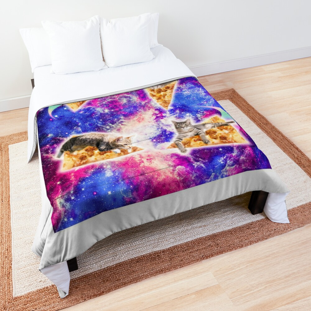 Galaxy Space Pizza Cat Comforter