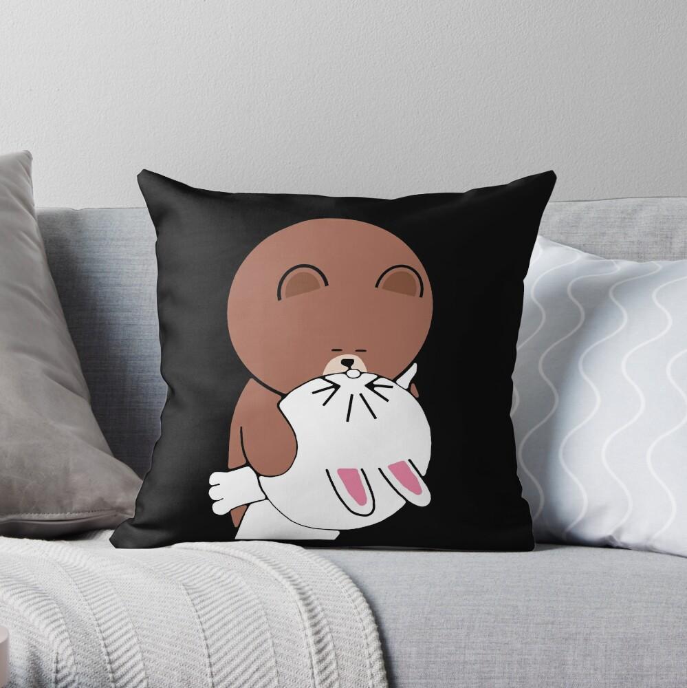 Cute brown bear cony bunny rabbit the kiss Throw Pillow