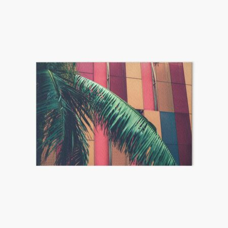 palm leaves hanging in front of an orange and red facade Art Board Print