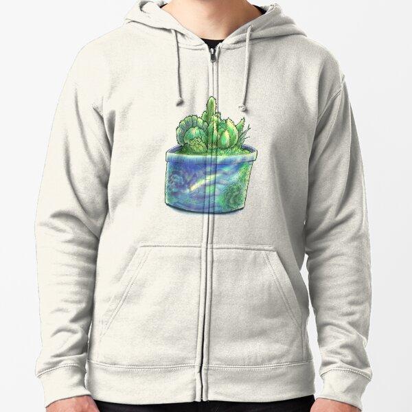 Succulent Pot  Zipped Hoodie