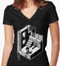 モンスター Women's Fitted V-Neck T-Shirt