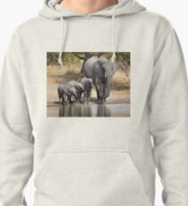 Elephant Mom and Babies Pullover Hoodie