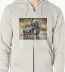 Elephant Mom and Babies Zipped Hoodie